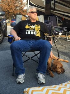 Dad is hanging out in the Costco Tailgating Chair at a recent RV tailgate