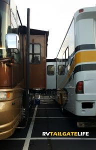 When RVs are parked back to back like this, generator exhaust would go directly into the bedrooms without a Genturi exhaust pipe! Make sure you have a Genturi as part of your dry camping basics gear