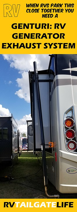 When RVs are parked close together at a tailgate lot, you need to use a Genturi RV Generator Exhaust System to protect you, your family, and your pets from carbon monoxide poisoning