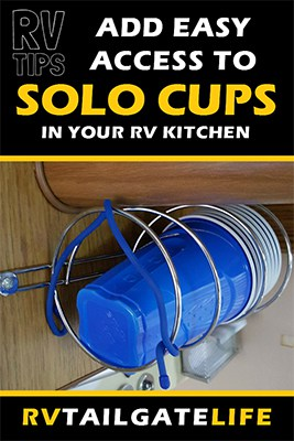 Add easy access to Solo Cups in your RV kitchen with this easy RV hack & RV modification for your RV kitchen