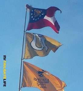 Fly team flags to show team spirit at your RV tailgate