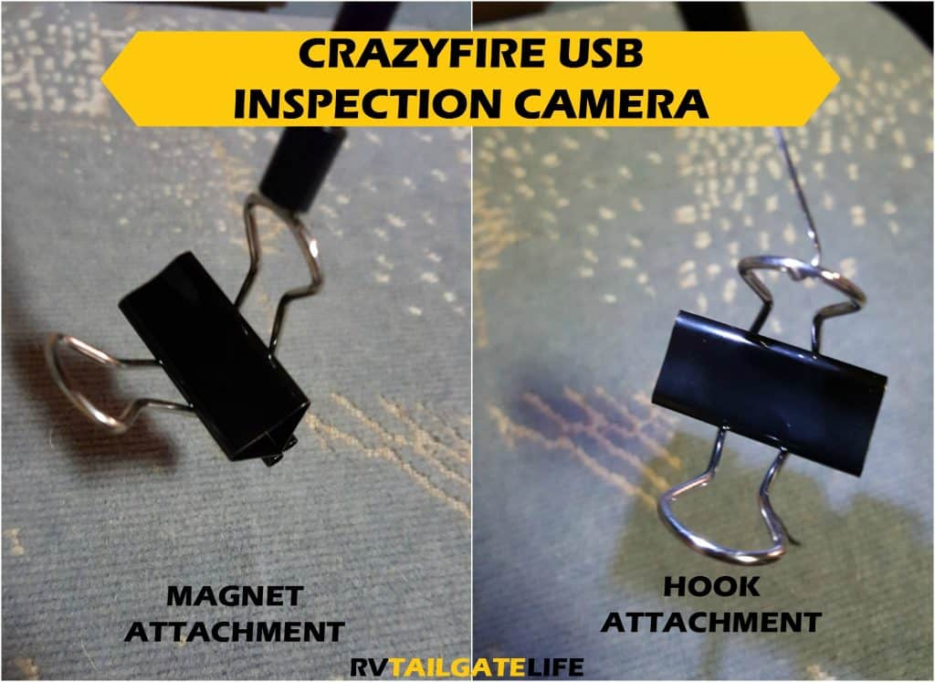 The magnet and hook attachments in action for the CrazyFire inspection camera - Borescope
