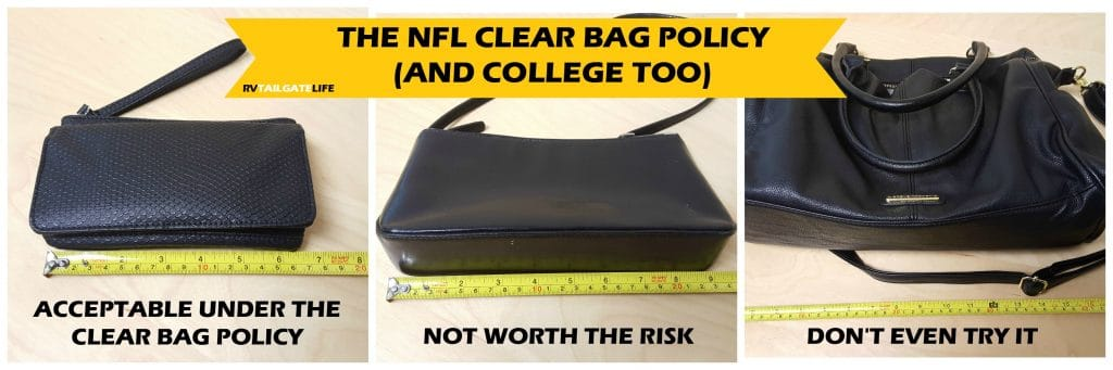 Small clutch size purses are acceptable under the NFL Clear Bag Policy. If it's longer than 6 1/2 inches, don't run the risk.