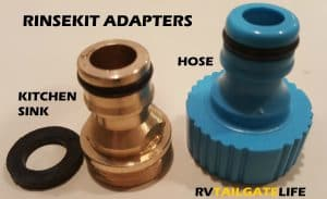RinseKit portable shower adapters for filling from kitchen faucet or outside hose