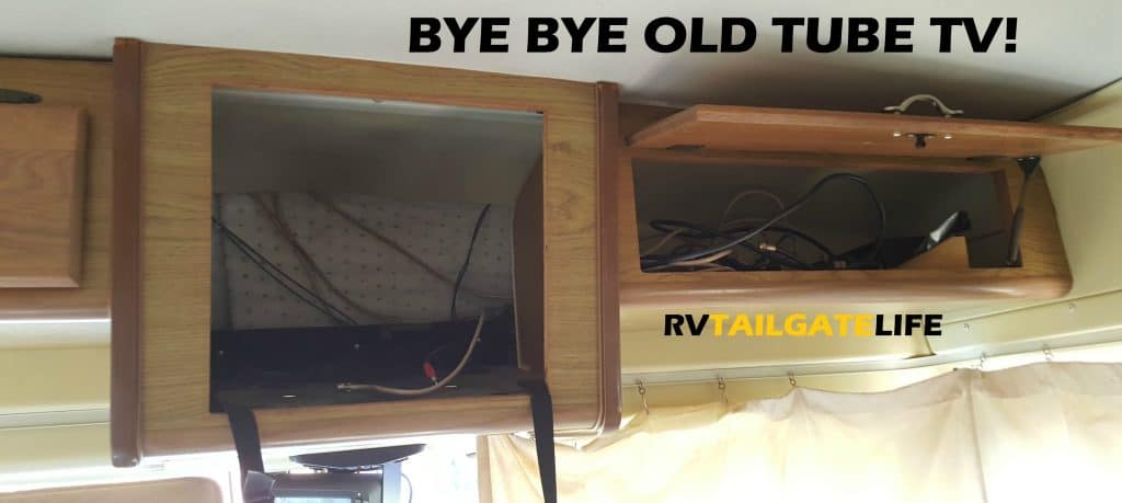 The RV TV cabinet where the new digital flat screen tv will go