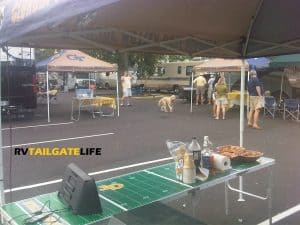 Setting up an RV tailgate... almost time to get the party started