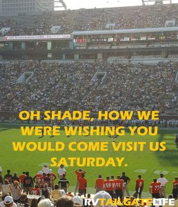 We were wishing for the shade that the other side of the stadium had on Saturday. It was brutal!