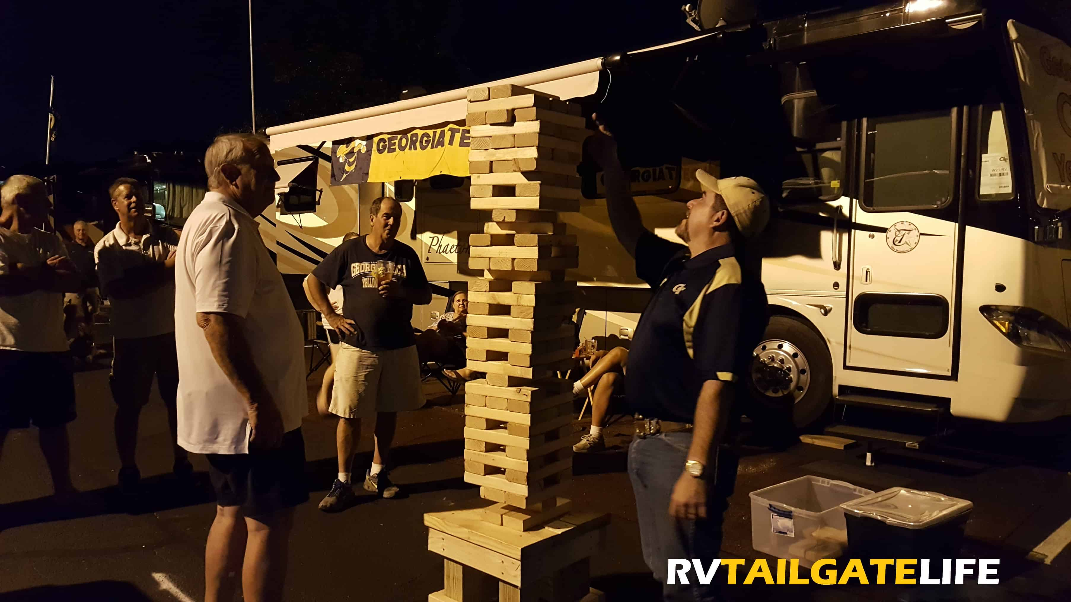 The RVTailgateLife tailgate games includes a giant outdoor version of Jenga