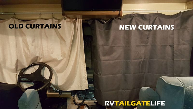 Out with the old, in with the new - the old stained and thin curtains next to the new blackout curtains in the RV windshield