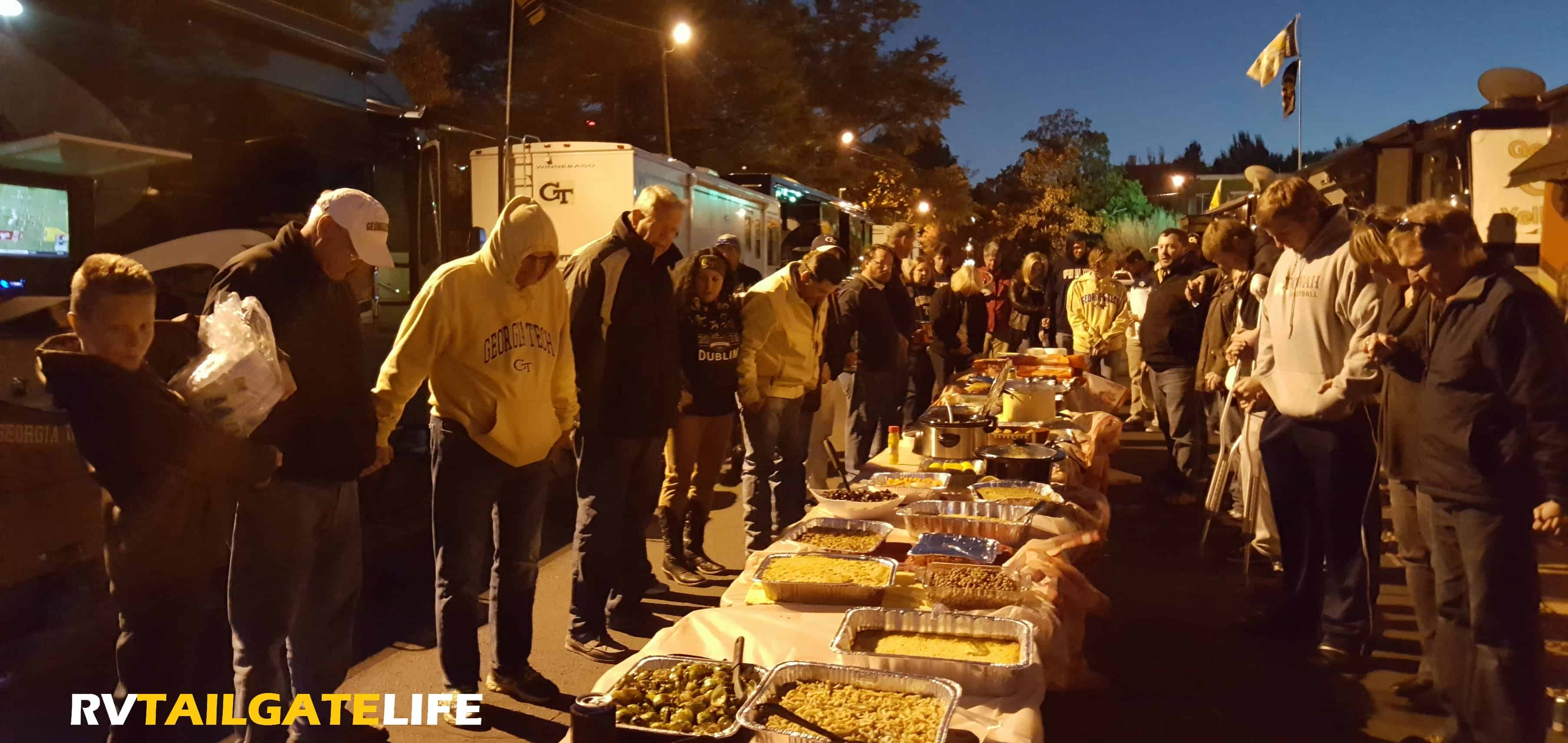Bless this food at the RV Thanksgiving dinner feast