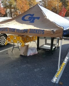 Some people are more brave than I leaving their tailgate gear out unattended during a rivalry tailgate