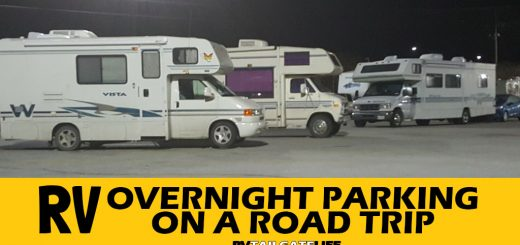 RVs parked in a Walmart parking lot overnight - RV Overnight Parking on a Road Trip