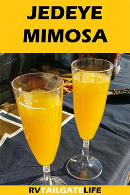 Jedeye Mimosa is a champagne mimosa perfect for early morning tailgates