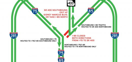 GDOT map of detours for I-85 bridge collapse