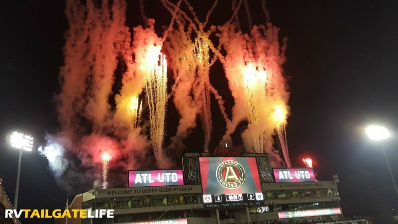 Fireworks to celebrate the Atlanta United win on July 4, 2017