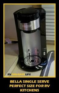 Bella Single Serve Coffee Brewer is perfect for limited and small RV kitchens