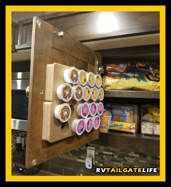 Organize K-Cups in small kitchens by using K-Cup Coffee Pod Pads on the inside of the cabinet door