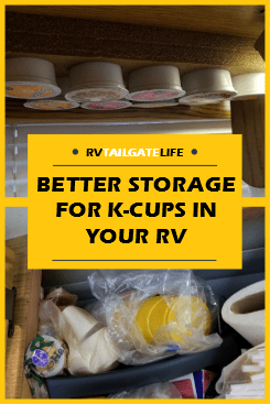 RV friendly storage for K-cups in the small RV kitchen