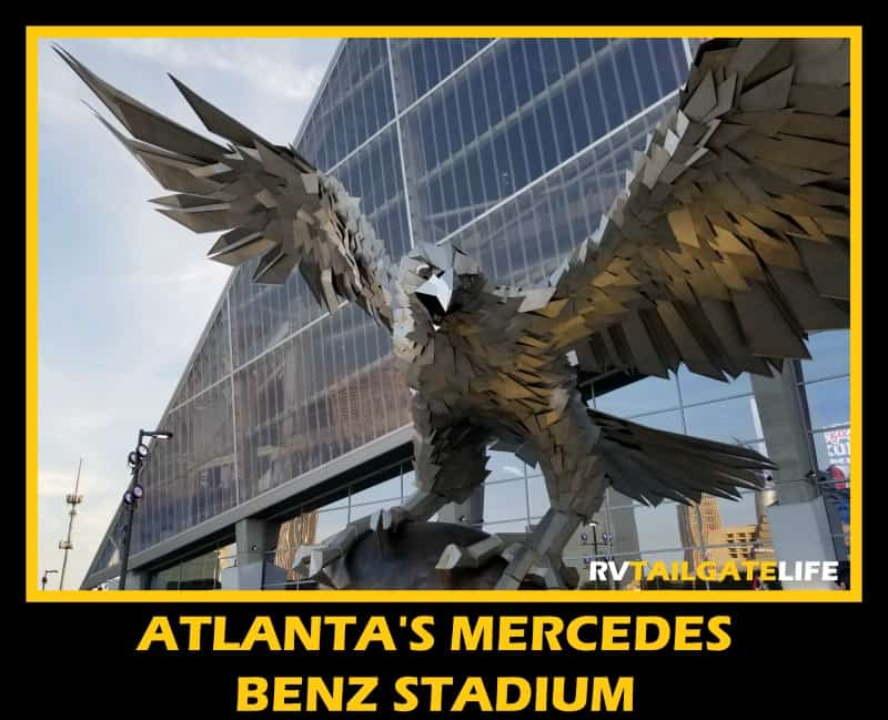 The Falcon outside Atlanta's Mercedes Benz Stadium - Atlanta Falcons