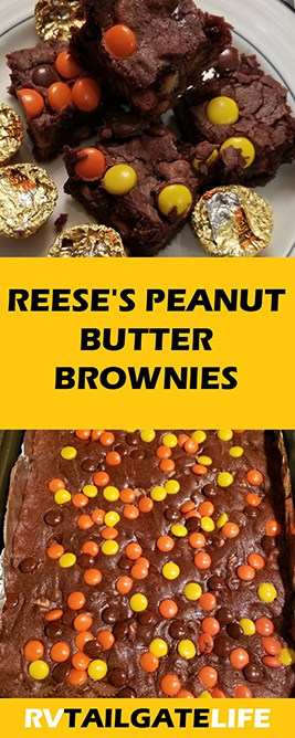 Reese's Peanut Butter Brownies - get the recipe! Great dessert for tailgating, family picnic, or party