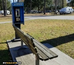 Oak Plantation RV Campground has an actual public pay phone. Does it actually work? Dunno!