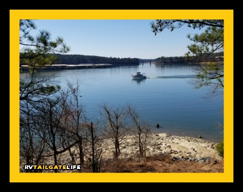 A boat out on Lake Allatoona near McKinney Campground