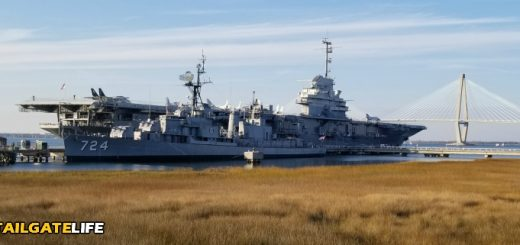 The USS Yorktown and the USS Laffey in Charleston Harbor with the Ravenel Bridge in the backgroun