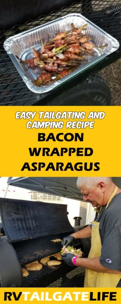Bacon wrapped asparagus is an easy tailgating and camping recipe
