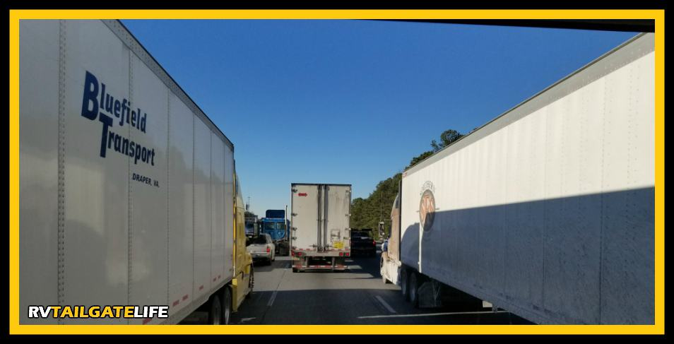 Ready to thread your RV between tractor trailers on the interstate? It takes practice to be ready for this!