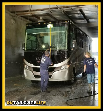 As part of your de-winterize process, you'll want to wash the exterior of your RV to get all the winter grime and gook off the outside of the RV.