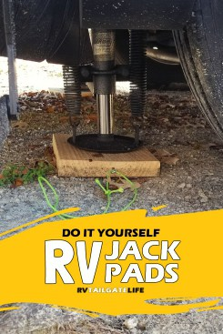 Make your own RV Jack Pads - great for leveling your RV and for keeping RV jacks out of the mud or sinking into soft ground.
