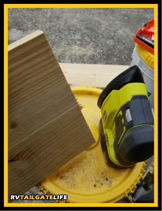Sand the edges of the boards to prevent splinters when using your RV jack pads.