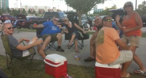 Tailgating with friends at the College World Series