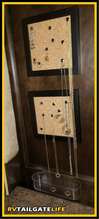 Keep jewelry readily accessible and looking like a piece of art in the RV with this RV jewelry organizer project