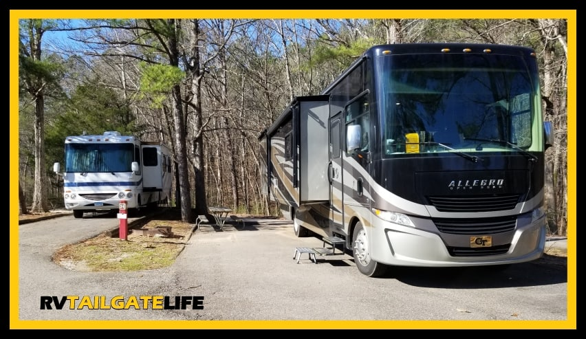 RVs parked at Oak Mountain State Park RV Campgrounds - spaces are good size but close to each other