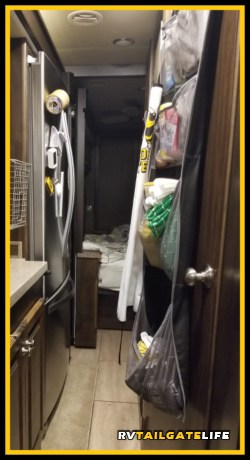 Use space on the back of doors or cabinets to keep your RV kitchen organized.