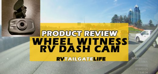 RV Product Review - the WheelWitness RV Dash Cam with inset picture of RV dash cam and background picture of interstate driving in Atlanta