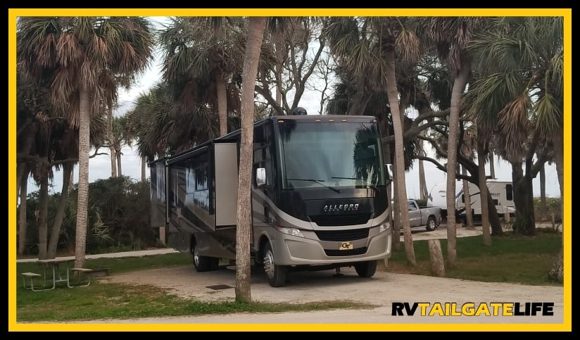 Edisto Beach RV Campground - Site 59 is shaded by Palmetto Trees and is packed sand