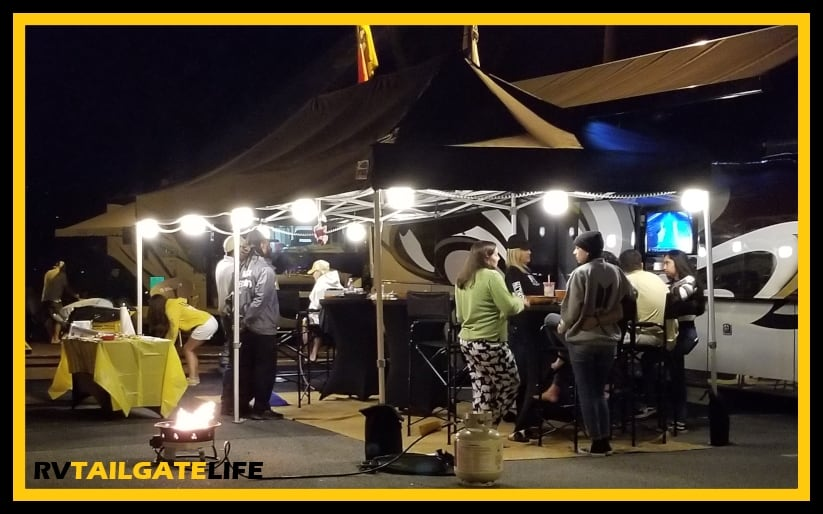 The Eurmax EZ Pop-up Tent is large enough to host all the best nighttime football tailgate parties