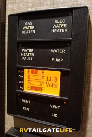 RV control panel with RV black tank, RV gray tank, RV fresh water tank, and propane levels