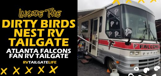 Inside the Dirty Birds Nest RV Tailgate, Atlanta Falcons fan RV tailgate with a picture of the Falcons RV