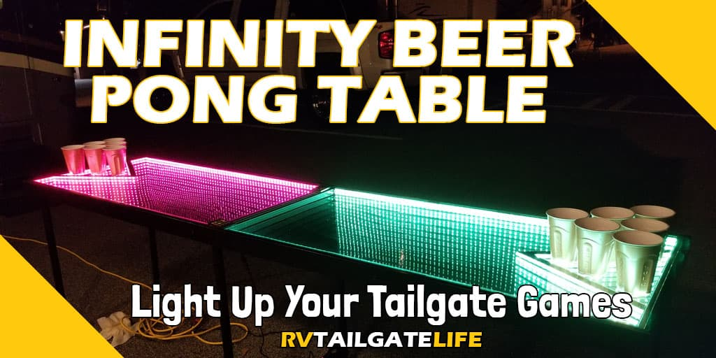 Infinity Beer Pong Table lights up your tailgate games