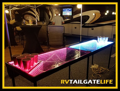 Infinty Beer Pong Table lit up at the RV tailgate