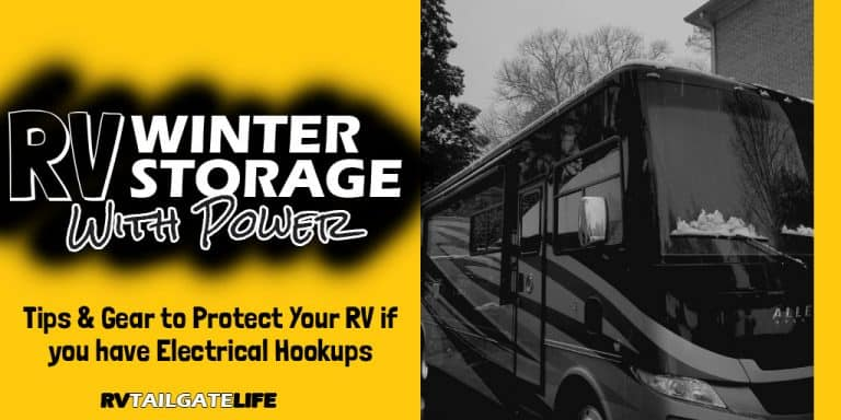 RV Winter Storage with Power - Tips and gear to protect your RV if you have electrical hokups during winter storage with a picture of a Tiffin RV with snow on it