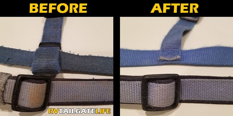 Before and after pictures of the dog collar and harness after washing with Castile soap