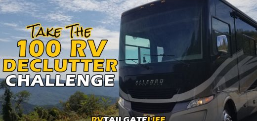 Take the 100 RV Declutter Challenge from RV Tailgate Life with a picture of the front end of a Class A motorhome