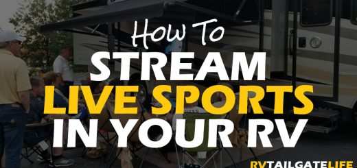 How to Stream Live Sports in Your RV with a picture of a RV and tailgate crowd watching football on the outside TV