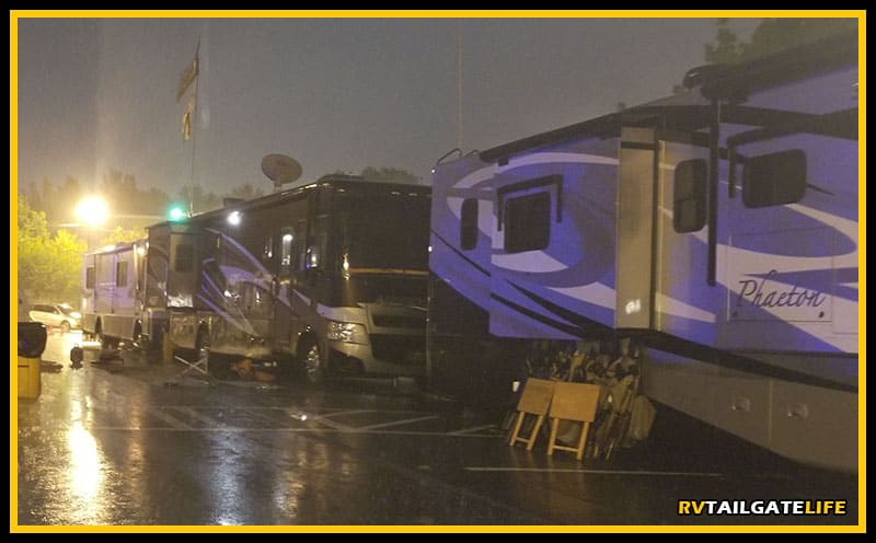 Rainy night in Georgia? Bring your awning in so you do not have a big mishap in the morning.