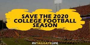 Save the 2020 College Football Season overlayed on a picture of Clemson Tigers home football game from 2019